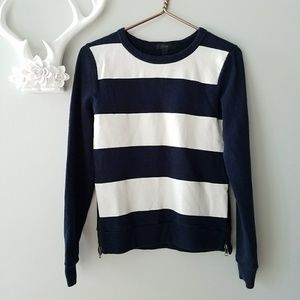 J.Crew | Nautical Stripe Zipper Sweatshirt Sweater